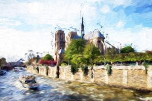 Paris Notre Dame - In the Style of Oil Painting by Philippe Hugonnard