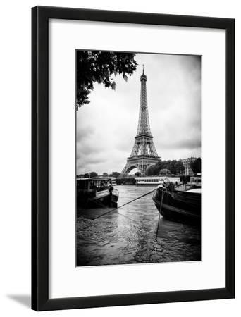Paris sur Seine Collection - Barges along River Seine with Eiffel Tower XIII