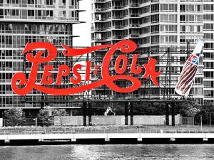 Pepsi Cola Bottling Sign, Long Island City, New York, United States, Black and White Photography by Philippe Hugonnard