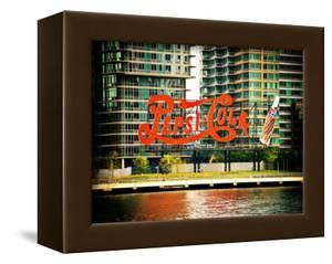 Pepsi Cola Bottling Sign, Long Island City, New York, Vintage, White Frame, Full Size Photography by Philippe Hugonnard
