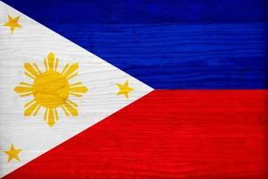 Philippines Flag Design with Wood Patterning - Flags of the World Series by Philippe Hugonnard