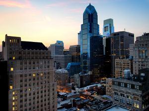 Philly Skyscrapers at Nightfall, Philadelphia, Pennsylvania, United States by Philippe Hugonnard