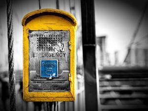 Police Emergency Call Box on the Walkway of the Brooklyn Bridge in New York City by Philippe Hugonnard