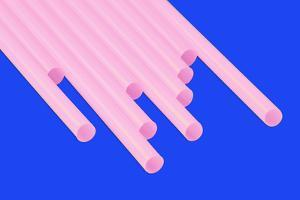 Pop Straws Collection - Blue & Light Pink by Philippe Hugonnard