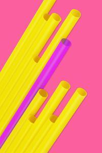 Pop Straws Collection - Dark Pink & Yellow by Philippe Hugonnard