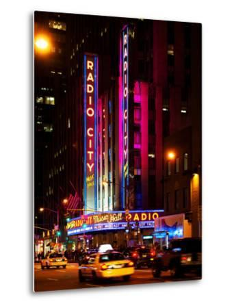 Radio City Music Hall and Yellow Cab by Night, Manhattan, Times Square, New York City, US, USA