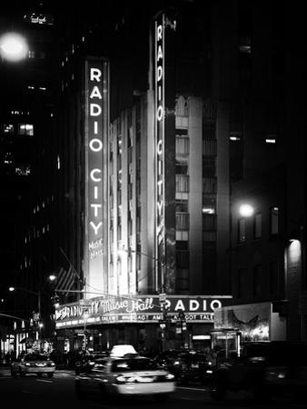 Radio City Music Hall and Yellow Cab by Night, Manhattan, Times Square, NYC, Old Classic