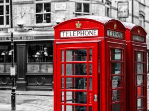 Red Telephone Booths - London - UK - England - United Kingdom - Europe - Spot Color Photography by Philippe Hugonnard