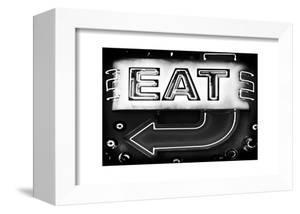 "Retail Signage ""Eat"", Restaurant Sign, New Yorka, White Frame, Full Size Photography by Philippe Hugonnard"