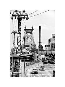 "Road Traffic on ""59th Street Bridge"" (Queensboro Bridge), Manhattan Downtown, NYC, White Frame by Philippe Hugonnard"