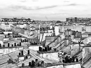 Rooftops View, Black and White Photography, Pompidou Center, Paris, France by Philippe Hugonnard