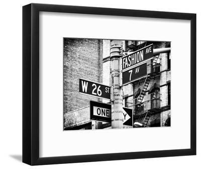 Signpost, Fashion Ave, Manhattan, New York City, United States, Black and White Photography