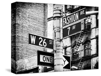 Signpost, Fashion Ave, Manhattan, New York City, United States, Black and White Photography