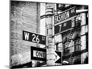 Signpost, Fashion Ave, Manhattan, New York City, United States, Black and White Photography by Philippe Hugonnard