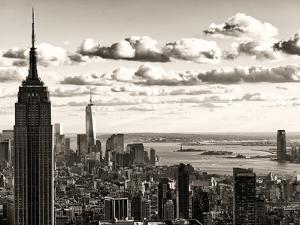 Skyline with the Empire State Building and the One World Trade Center, Manhattan, NYC, Sepia Light by Philippe Hugonnard