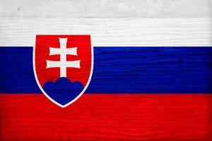 Slovakia Flag Design with Wood Patterning - Flags of the World Series by Philippe Hugonnard