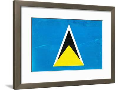 St. Lucia Flag Design with Wood Patterning - Flags of the World Series