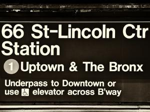 Subway Sign at Times Square, 66 Street Lincoln Station, Manhattan, NYC, USA, Sepia Photography by Philippe Hugonnard
