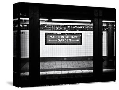 Subway Sign, Black and White Photography, Madison Square Garden, Manhattan, New York, United States