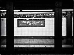 Subway Sign, Black and White Photography, Madison Square Garden, Manhattan, New York, United States by Philippe Hugonnard