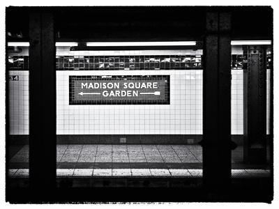 Subway Sign, Black and White Photography, Madison Square Garden, Manhattan, New York, United States