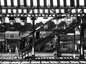 Subway Station, Williamsburg, Brooklyn, New York, United States, Black and White Photography by Philippe Hugonnard