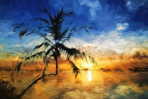 Sunset Palm II - In the Style of Oil Painting by Philippe Hugonnard