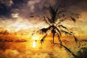 Sunset Palm III - In the Style of Oil Painting by Philippe Hugonnard