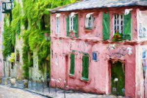 The Pink House - In the Style of Oil Painting by Philippe Hugonnard