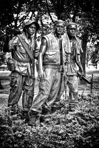"""""""The Three Soldiers"""" Bronze by Frederik Hart at the Vietnam Memorial, Washington D.C, White Frame by Philippe Hugonnard"""