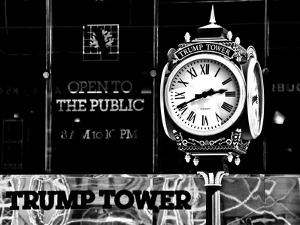 The Trump Tower Clock, Manhattan, NYC, New York, United States, USA, Black and White Photography by Philippe Hugonnard