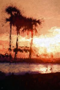 Three Palms - In the Style of Oil Painting by Philippe Hugonnard