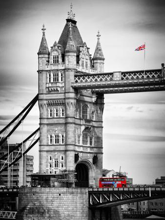 Tower Bridge with Red Bus in London - City of London - UK - England - United Kingdom - Europe by Philippe Hugonnard