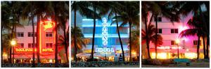 Triptych Collection - Buildings Lit Up at Dusk - Ocean Drive - Miami Beach by Philippe Hugonnard