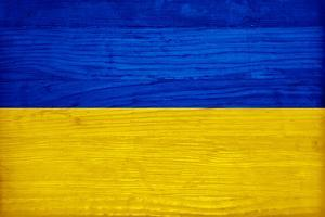 Ukraine Flag Design with Wood Patterning - Flags of the World Series by Philippe Hugonnard