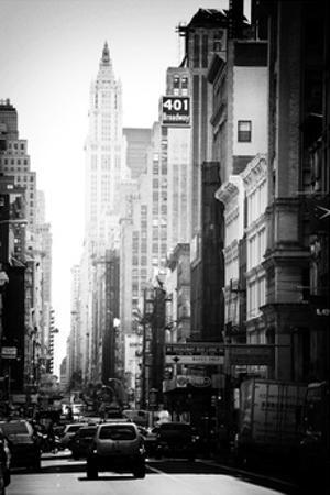 Urban Scene, 401 Broadway, Soho, Manhattan, NYC, White Frame, Old Black and White Photography
