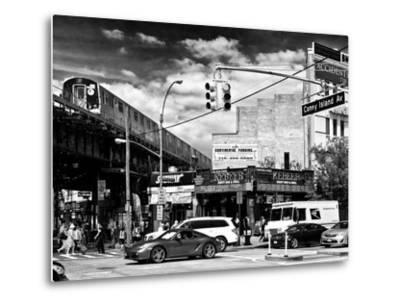 Urban Scene, Coney Island Av and Subway Station, Brooklyn, Ny, US, USA, Black and White Photography