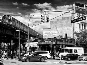 Urban Scene, Coney Island Av and Subway Station, Brooklyn, Ny, US, USA, Black and White Photography by Philippe Hugonnard