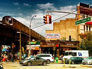 Urban Scene, Coney Island Av and Subway Station, Brooklyn, Ny, US, USA, Sunset Colors Photography by Philippe Hugonnard