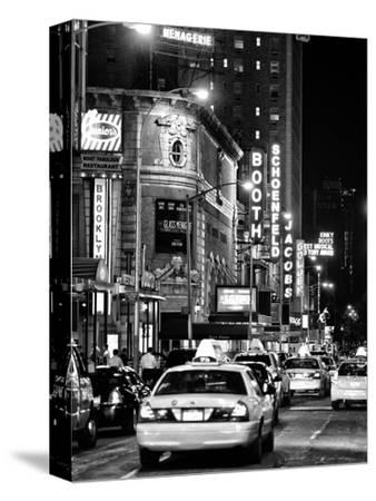 Urban Scene with Yellow Cab by Night at Times Square, Manhattan, NYC, Black and White Photography