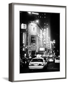 Urban Scene with Yellow Cab by Night at Times Square, Manhattan, NYC, Classic Old by Philippe Hugonnard