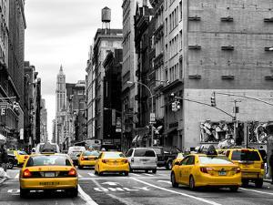 Urban Scene with Yellow Cab in Broadway by Philippe Hugonnard