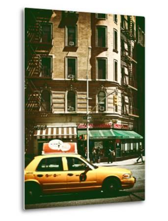 Urban Scene with Yellow Cab on the Upper West Side of Manhattan, NYC, Vintage Colors Photography