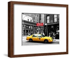 Urban Scene, Yellow Taxi, Prince Street, Lower Manhattan, NYC, Black and White Photography Colors by Philippe Hugonnard
