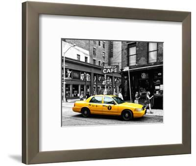 Urban Scene, Yellow Taxi, Prince Street, Lower Manhattan, NYC, Black and White Photography Colors