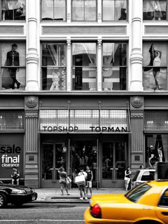 Urban Scene, Yellow Taxi, Topshop Store Front, Broadway, Soho, Manhattan, New York Colors