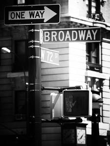 Urban Sign, Broadway, Manhattan, New York, United States, USA, Old Black and White Photography by Philippe Hugonnard