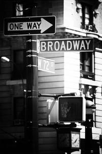 Urban Sign, Broadway, Manhattan, New York, White Frame, Old Black and White Photography by Philippe Hugonnard