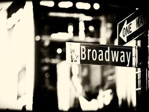 Urban Sign, Broadway Sign at Times Square by Night, Manhattan, New York, USA, Old Sepia Photography by Philippe Hugonnard