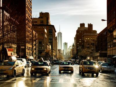 Urban Street Scene with NYC Yellow Taxis and One World Trade Center of Manhattan, Sunset in Winter by Philippe Hugonnard